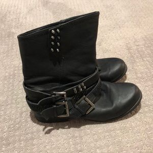 Not Rated black studded short combat boots size 8